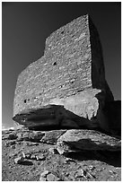 Masonary wall, Wukoki pueblo, Wupatki National Monument. Arizona, USA (black and white)