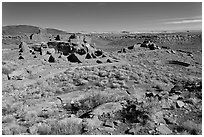 Sinagua culture site, Wupatki National Monument. Arizona, USA (black and white)