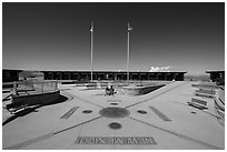 Quadripoint where the states of Arizona, Colorado, New Mexico, and Utah meet.. Four Corners Monument, Arizona, USA (black and white)