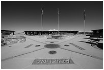 Four Corners Quadripoint. Four Corners Monument, Arizona, USA (black and white)