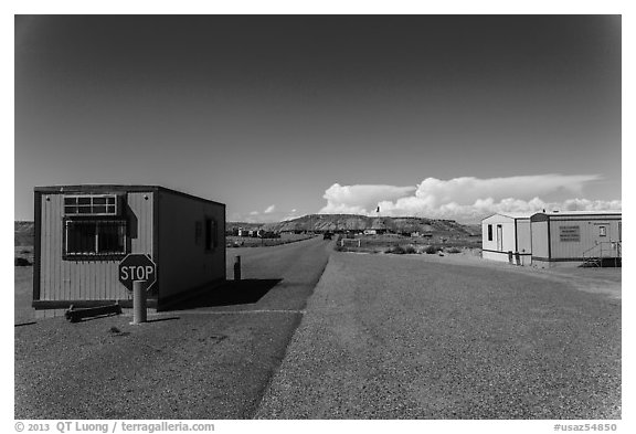 Mobile buildings at entrance. Four Corners Monument, Arizona, USA (black and white)