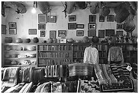 Navajo rugs and designs in the Hubbel rug room. Hubbell Trading Post National Historical Site, Arizona, USA ( black and white)