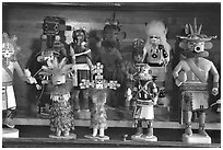 Hopi Kachina figures. Hubbell Trading Post National Historical Site, Arizona, USA ( black and white)