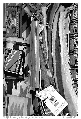 Navajo blankets and rugs for sale. Hubbell Trading Post National Historical Site, Arizona, USA (black and white)
