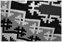 Detail of blanket with Navajo design. Hubbell Trading Post National Historical Site, Arizona, USA (black and white)