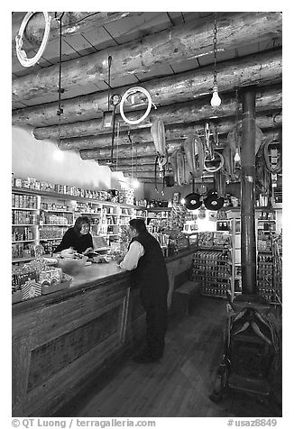The main trading area. Hubbell Trading Post National Historical Site, Arizona, USA (black and white)