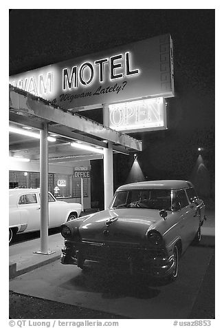 Old American cars, Holbrook. Arizona, USA (black and white)
