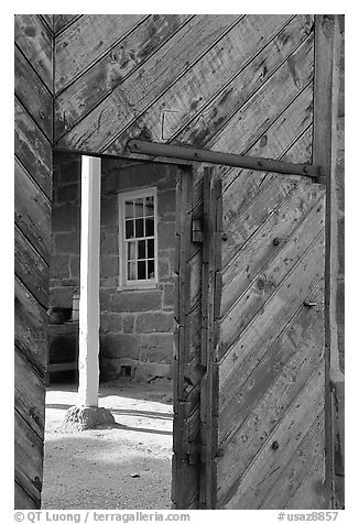 Wooden door of Winsor Castle. Pipe Spring National Monument, Arizona, USA (black and white)