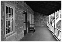 Interior porch of Winsor Castle. Pipe Spring National Monument, Arizona, USA (black and white)
