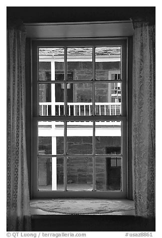 Looking out a window of Winsor Castle into the courtyard. Pipe Spring National Monument, Arizona, USA (black and white)