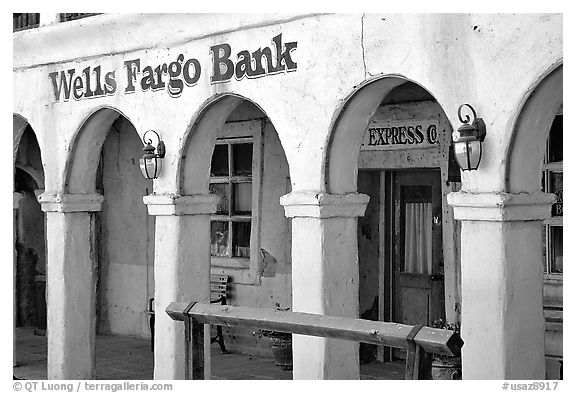 Arcades of Wells Fargo Bank, Old Tucson Studios. Tucson, Arizona, USA