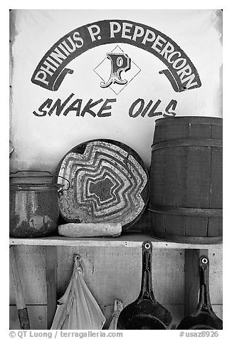 Snake Oil display, Old Tucson Studios. Tucson, Arizona, USA (black and white)