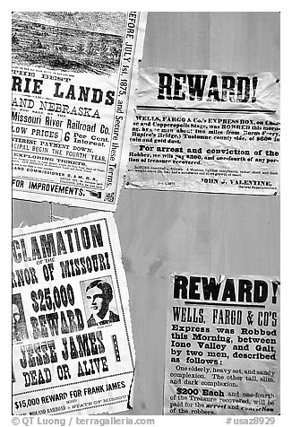 Wanted and Reward signs, Old Tucson Studios. Tucson, Arizona, USA (black and white)