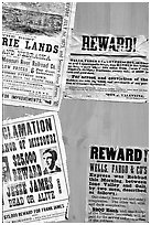 Wanted and Reward signs, Old Tucson Studios. Tucson, Arizona, USA ( black and white)