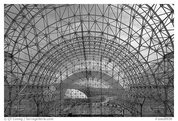 Glass enclosure seen from inside. Biosphere 2, Arizona, USA (black and white)