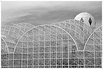 Glass enclusure and tower. Biosphere 2, Arizona, USA ( black and white)