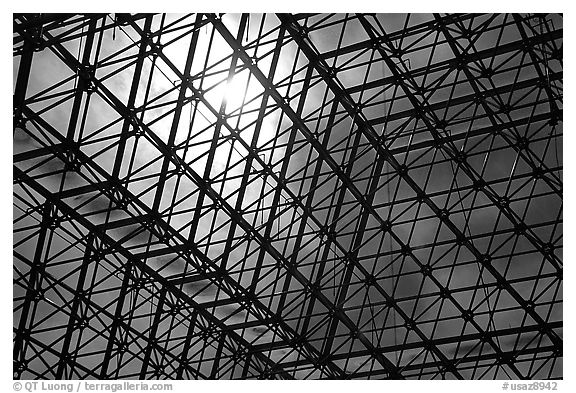 Metallic structure. Biosphere 2, Arizona, USA (black and white)