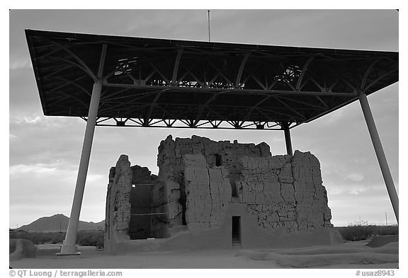 Great house at sunset, Casa Grande Ruins National Monument. Arizona, USA (black and white)