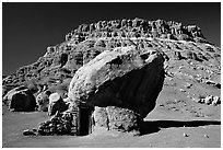 Boulder with hut near Page. Arizona, USA (black and white)