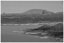Lake Powell and Antelope Island at dusk, Glen Canyon National Recreation Area, Arizona. USA (black and white)