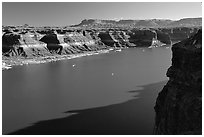 Lake Powell near Hute, Glen Canyon National Recreation Area, Utah. USA (black and white)