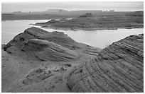 Sandstone Swirls and Lake Powell, Glen Canyon National Recreation Area, Arizona. USA (black and white)