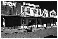 Strip of old west buildings. Arizona, USA (black and white)