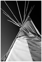 Teepee and blue sky. Arizona, USA (black and white)