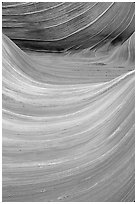 Ondulating sandstone stripes, The Wave. Coyote Buttes, Vermilion cliffs National Monument, Arizona, USA ( black and white)