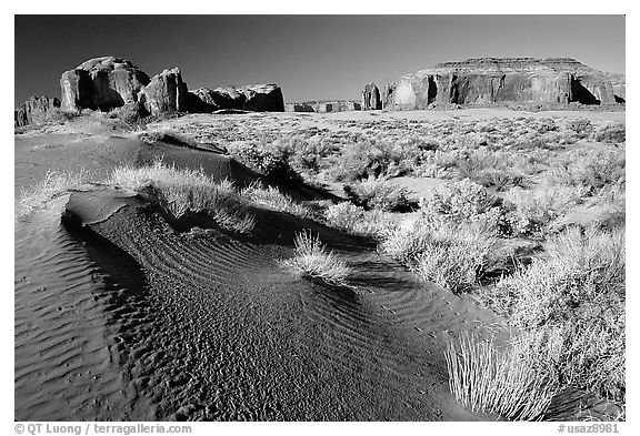 Sand dune and mesas, late afternoon. Monument Valley Tribal Park, Navajo Nation, Arizona and Utah, USA (black and white)