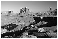 Ford Point, late afternoon. Monument Valley Tribal Park, Navajo Nation, Arizona and Utah, USA ( black and white)