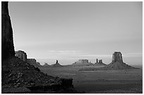 Buttes and Mesas from North Window, dusk. Monument Valley Tribal Park, Navajo Nation, Arizona and Utah, USA (black and white)