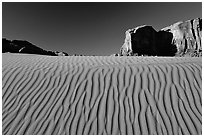 Ripples and mesas. Monument Valley Tribal Park, Navajo Nation, Arizona and Utah, USA (black and white)