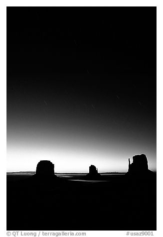 Buttes at dawn with short start trails. Monument Valley Tribal Park, Navajo Nation, Arizona and Utah, USA (black and white)