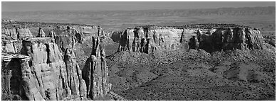 Mesa scenery. Colorado National Monument, Colorado, USA (Panoramic black and white)
