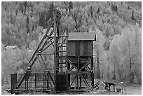 Mining structure and hillside with aspens. Colorado, USA ( black and white)