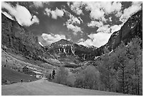 Road, aspens and Ajax peak in spring. Telluride, Colorado, USA (black and white)
