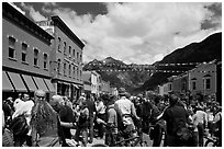 Crowds on main street during Mountain film festival. Telluride, Colorado, USA (black and white)