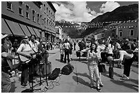 Live musicians on main street. Telluride, Colorado, USA ( black and white)