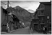 Street with old wooden buildings. Telluride, Colorado, USA ( black and white)