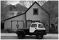 Jeep and blue house. Telluride, Colorado, USA (black and white)