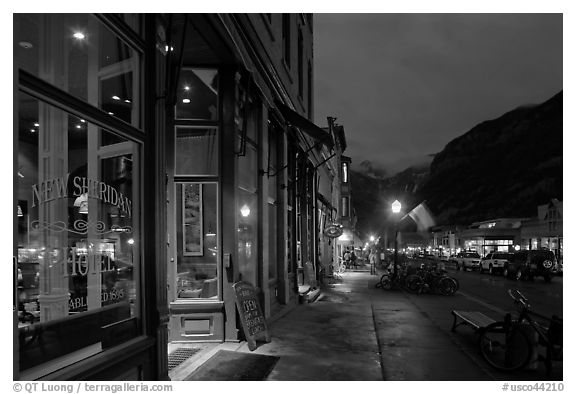 Main street by night. Telluride, Colorado, USA (black and white)