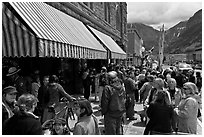 People gathering in front of movie theater. Telluride, Colorado, USA (black and white)