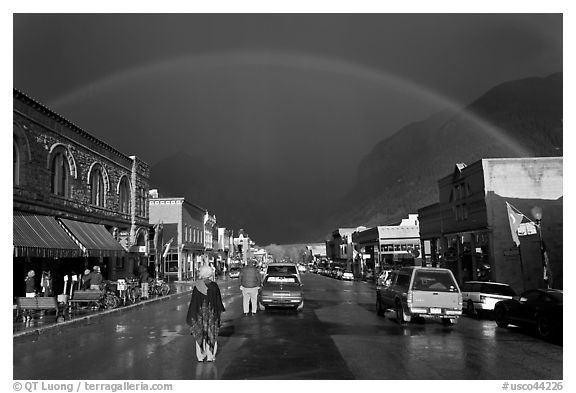 Main street with rainbow. Telluride, Colorado, USA (black and white)