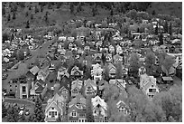 Town seen from above. Telluride, Colorado, USA ( black and white)
