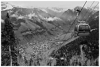 Gondola and valley. Telluride, Colorado, USA ( black and white)