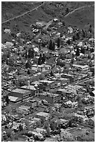 Aerial view of streets and buildings. Telluride, Colorado, USA ( black and white)