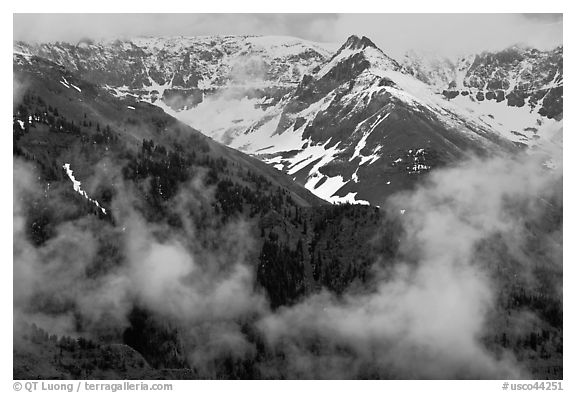 Snowy peaks and clouds. Telluride, Colorado, USA (black and white)