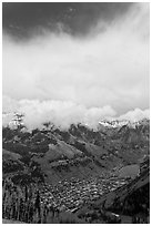 Valley and town seen from above in spring. Telluride, Colorado, USA ( black and white)