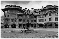 Plaza, Mountain Village. Telluride, Colorado, USA ( black and white)